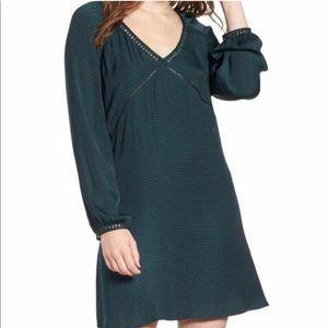 Green mini dress with lace detail